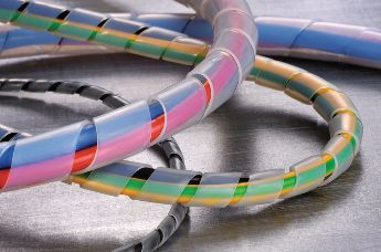 Cable protection spiral binding made of PTFE